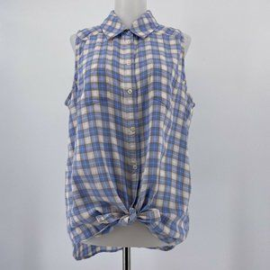 Paige Top Collared Button Up Tank Shirt Blue Plaid